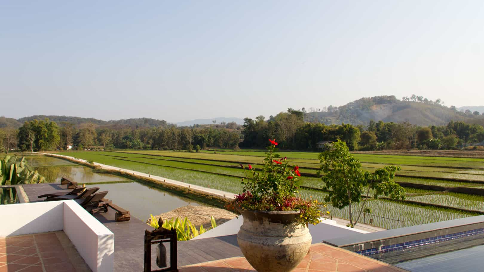 Chiang Rai - view from the restaurant at Manee Dheva Resort & Spa