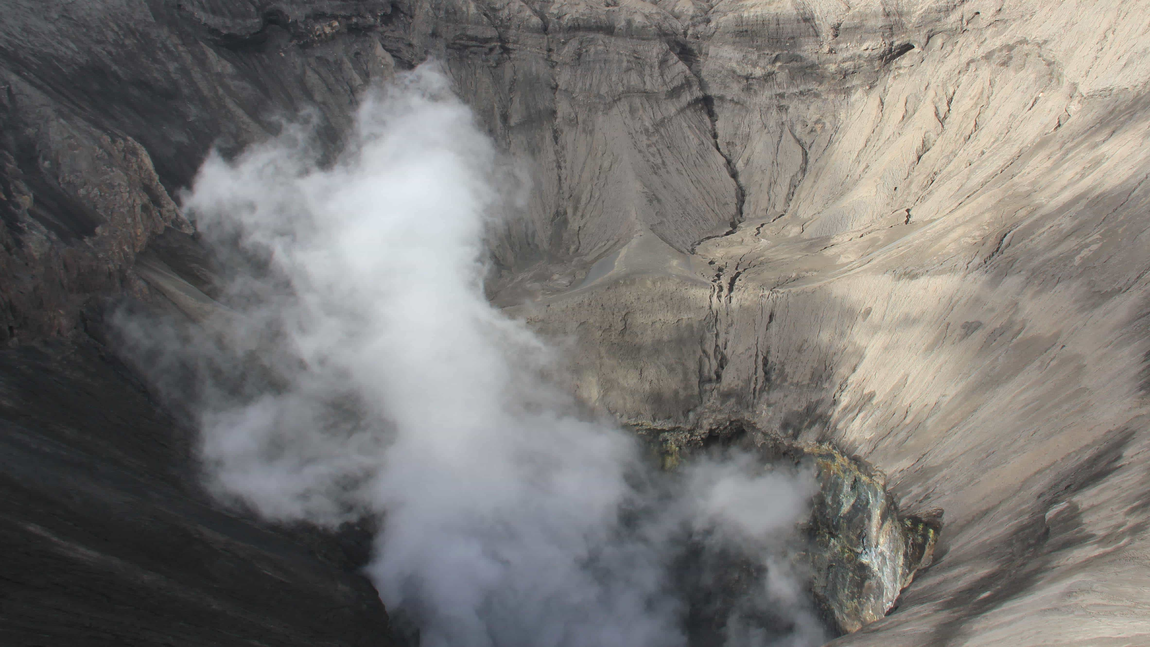 Mount Bromo crater seen from the top