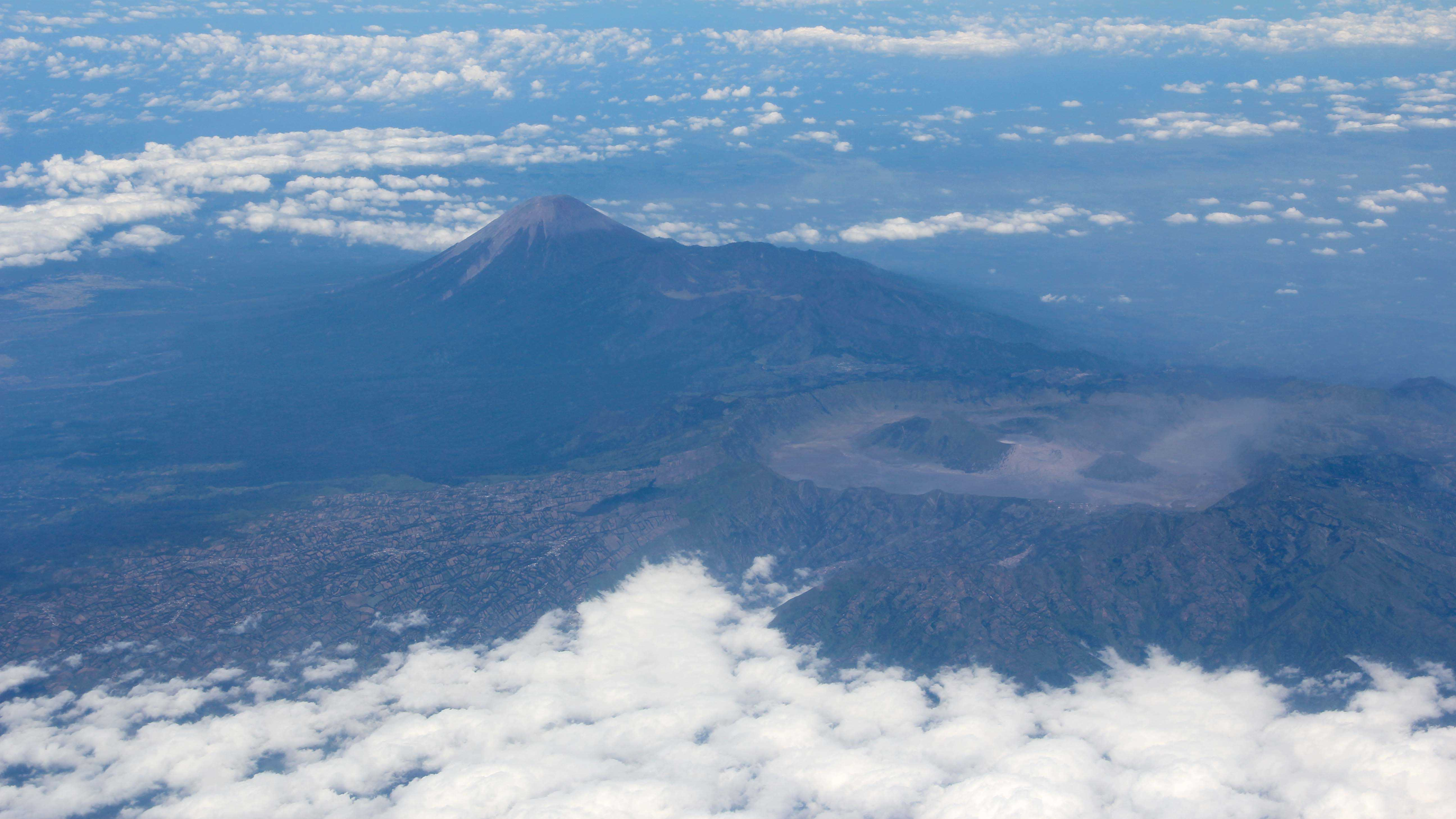 Mount Bromo and Semeru seen from the plane